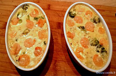 Recette Gratin de St Jacques, crevettes et brocolis