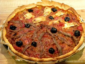 Recette Tarte à la tomate (tomates, oignons, anchois)