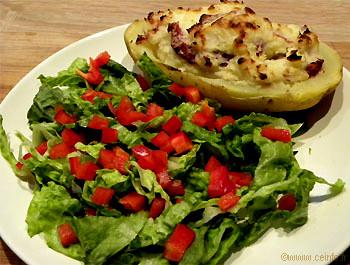Recette Salade romaine, poivron et sa pomme de terre farcie aux gésiers