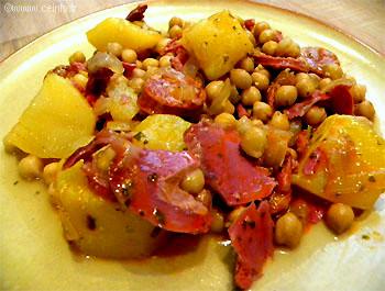 Recette Pois chiches aux lardons, chorizo et pommes de terre