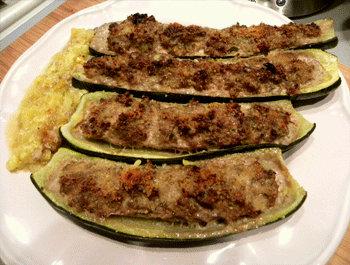 Recette Courgettes farcies au bœuf et aux champignons