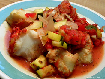 Recette Filet de cabillaud aux tomates et courgettes