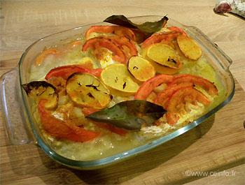 Recette Filet de julienne au four aux pommes de terre et tomates