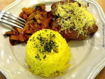 Recette Escalope de veau à l'italienne et son riz jaune