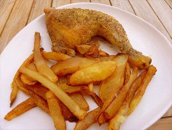 Recette Cuisses de poulet au four et frites maison