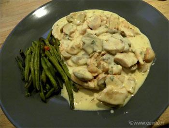 Recette Émincés de poulet à la crème, champignons et miel