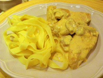 Recette Blancs de poulet à la moutarde, à la crème et champignons